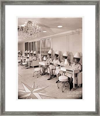 Vintage Hair Salon Ladies Hairdryers Framed Print