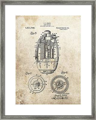 Vintage Hand Grenade Patent Framed Print by Dan Sproul