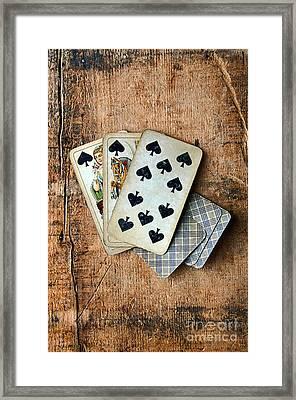 Vintage Hand Of Cards Framed Print