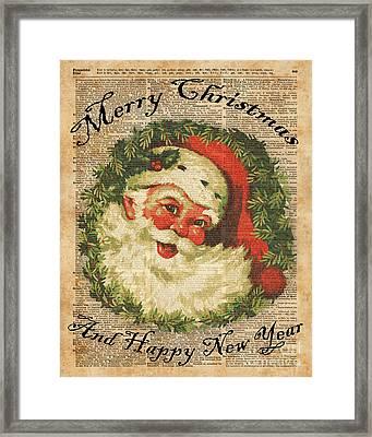 Vintage Happy Santa Christmas Greetings Festive Holidays Decor New Year Card Framed Print