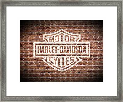 Vintage Harley Davidson Logo Painted On Old Brick Wall Framed Print by Design Turnpike