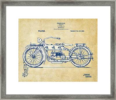 Vintage Harley-davidson Motorcycle 1919 Patent Artwork Framed Print by Nikki Smith