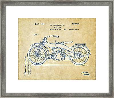 Vintage Harley-davidson Motorcycle 1924 Patent Artwork Framed Print by Nikki Smith