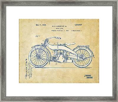 Vintage Harley-davidson Motorcycle 1924 Patent Artwork Framed Print by Nikki Smith