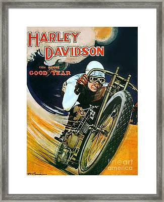 Vintage Harley Poster Framed Print by Pd