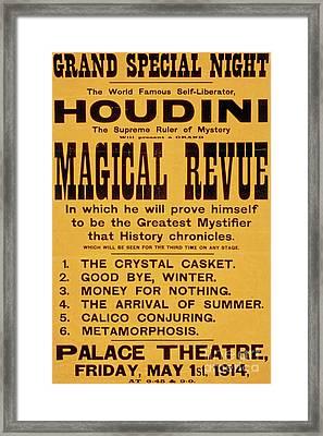 Vintage Harry Houdini Poster, Circa 1914 Framed Print