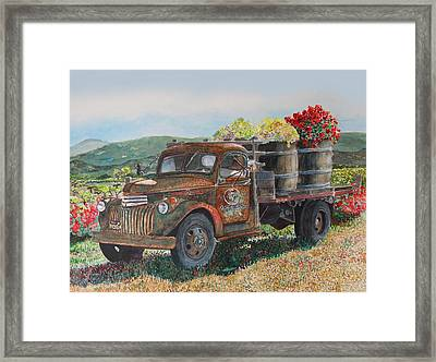 Framed Print featuring the painting Vintage Harvest by Gail Chandler