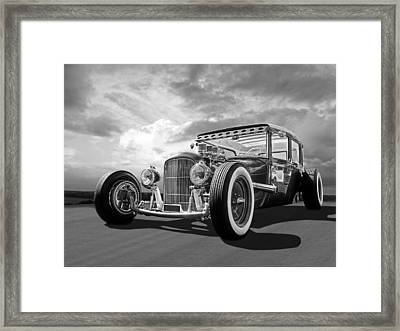 Vintage Hot Rod In Black And White Framed Print by Gill Billington