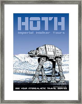 Vintage Hoth Star Wars Travel Poster Framed Print by Edward Fielding