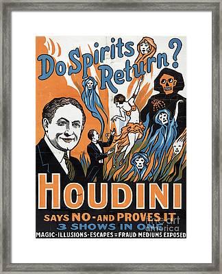 Vintage Houdini Poster Framed Print