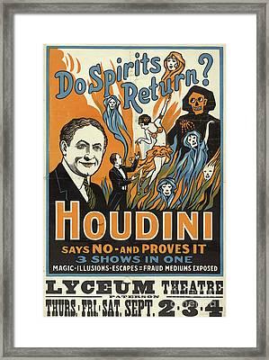 Vintage Houdini Show Poster Circa 1909  Framed Print