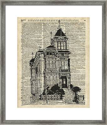 Vintage House Over Dictionary Page Framed Print