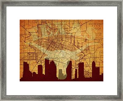 Vintage Houston Texas Skyline Framed Print