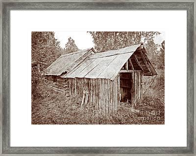 Vintage Iditarod Trail Shelter Cabins Framed Print by John Stephens