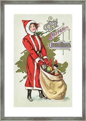Vintage Illustration Of A Girl In A Santa Claus Suit With A Bag Of Christmas Toys Framed Print