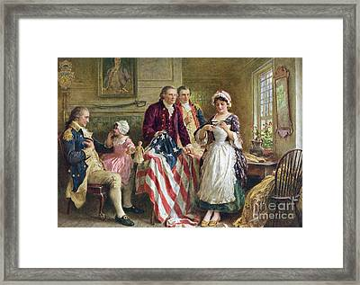 Vintage Illustration Of George Washington Watching Betsy Ross Sew The American Flag Framed Print