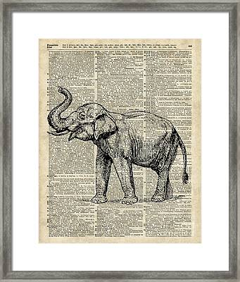 Vintage Illustration Of Happy Elephant Over Old Dictionary Book Page  Framed Print by Jacob Kuch