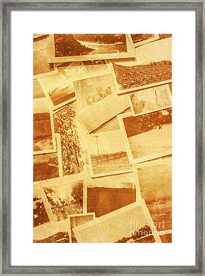 Vintage Image Of Various Photographs On Table  Framed Print