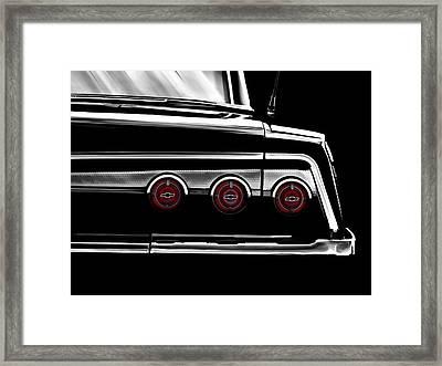 Vintage Impala Black And White Framed Print