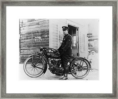 Vintage Indian Police Motorcycle Framed Print