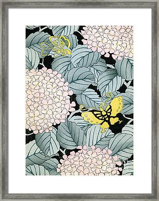 Vintage Japanese Illustration Of A Hydrangea Blossoms And Butterflies Framed Print by Japanese School
