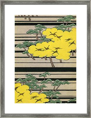 Vintage Japanese Illustration Of An Abstract Forest Landscape With Flying Cranes Framed Print by Japanese School