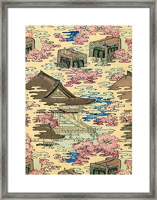 Vintage Japanese Illustration Of An Abstract Landscape With Stylized Houses Framed Print