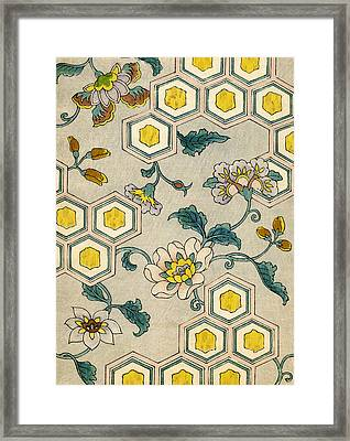 Vintage Japanese Illustration Of Blossoms On A Honeycomb Background Framed Print