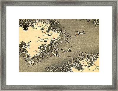 Vintage Japanese Illustration Of Cranes Flying In Grey Clouds  Framed Print by Japanese School