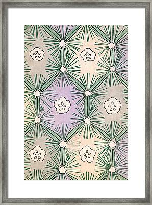 Vintage Japanese Illustration Of Pine Needles And Blossoms Framed Print by Japanese School