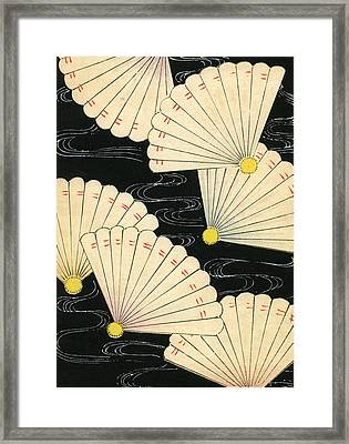 Vintage Japanese Woodblock Print Of White Fans On A Black Background Framed Print by Japanese School