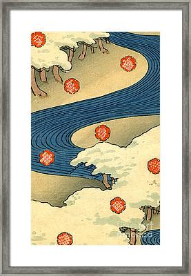 Vintage Japaneses Illustration Of Falling Snowflakes In An Abstract Winter Landscape Framed Print