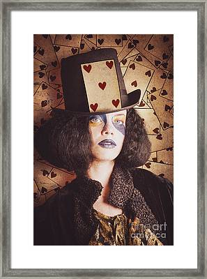 Vintage Jester Woman Wearing The Card Of Hearts Framed Print by Jorgo Photography - Wall Art Gallery