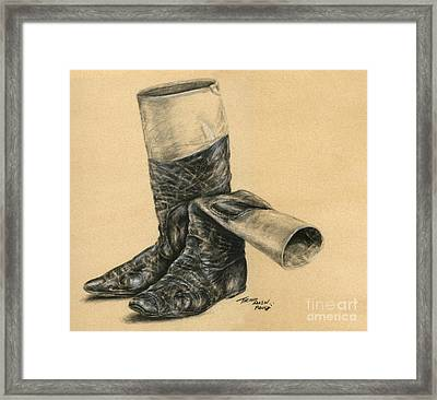 Vintage Jockey Boots Framed Print by Thomas Allen Pauly