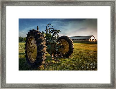 Vintage John Deere At Sunset Framed Print by Edward Fielding
