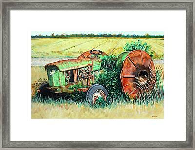 Vintage John Deere Tractor Some Rust Framed Print by Karl Wagner