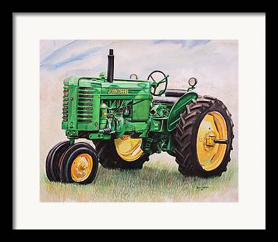 Tractor Mixed Media Framed Prints