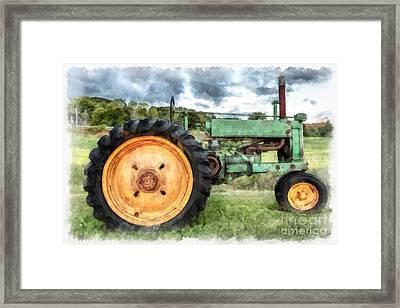 Vintage John Deere Tractor Watercolor Framed Print by Edward Fielding