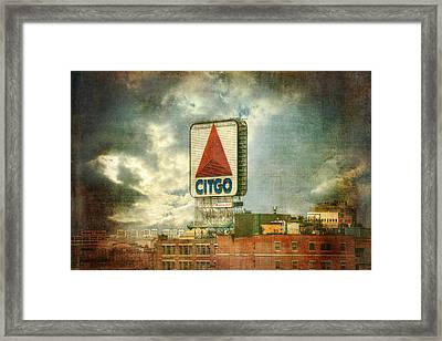 Vintage Kenmore Square Citgo Sign - Boston Red Sox Framed Print by Joann Vitali