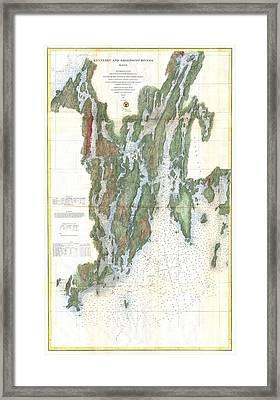 Vintage Kennebec And Sheepscot River Map - 1862 Framed Print