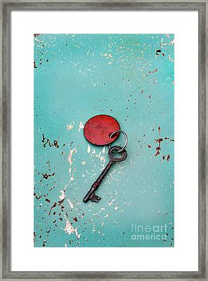 Framed Print featuring the photograph Vintage Key With Red Tag by Jill Battaglia