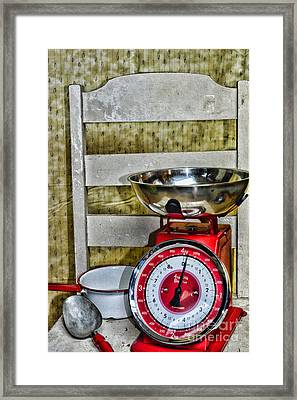 Vintage Kitchen Chair And Scale Framed Print by Paul Ward