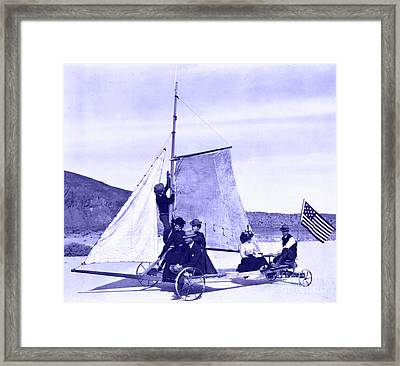 Vintage Ladies And Gentlemen Sail On The Desert Queen Framed Print