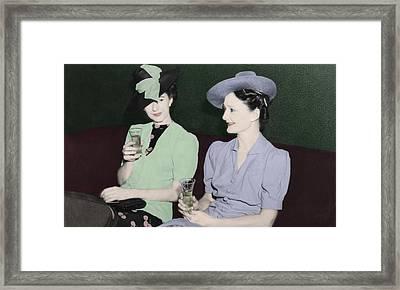 Vintage Ladies Enjoying A Drink Framed Print by Erin Cadigan