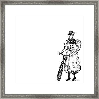 Vintage Lady With Bicycle Framed Print by Karl Addison