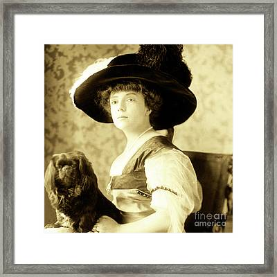 Vintage Lady With Lapdog Framed Print