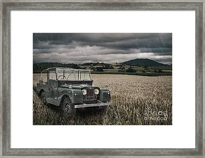 Vintage Land Rover In Field Framed Print by Amanda Elwell