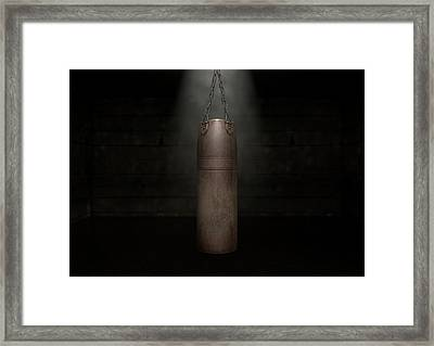 Vintage Leather Punching Bag Framed Print by Allan Swart