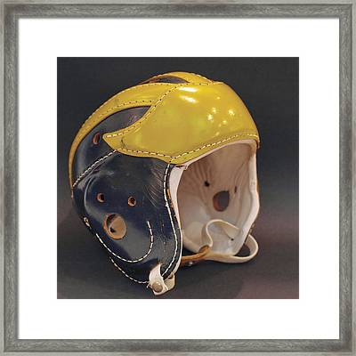 Framed Print featuring the photograph Vintage Leather Wolverine Helmet by Michigan Helmet