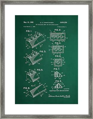 Vintage Lego Patent Green Framed Print by Brooke Roby